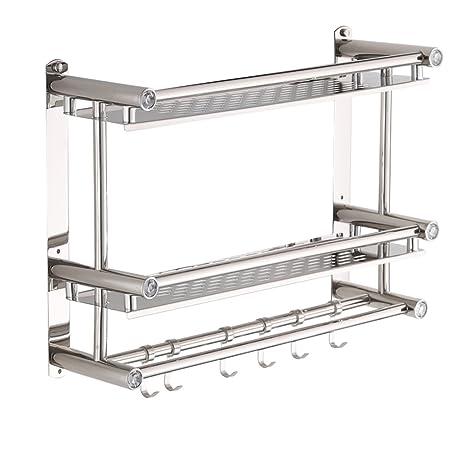 Versión mejorada de la estantería estantes para baño 2 capas Toallero de acero inoxidable Estante de almacenamiento colgante Estanterías de pared ...