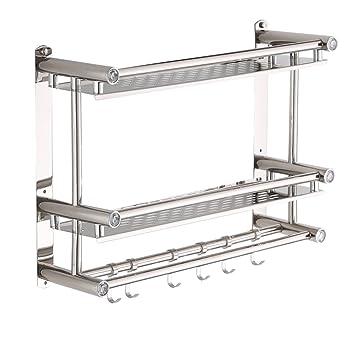 Versión mejorada de la estantería estantes para baño 2 capas Toallero de acero inoxidable Estante de ...