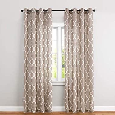 Linen Textured Moroccan Tile Curtains for Living Room Drapes 84 inch Long Lattice Room Darkening Ironwork Printed Window Curtains for Bedroom Taupe on Flax 2 Panels