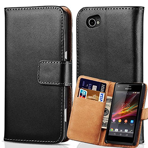 Skuleer(TM)Flip Wallet Genuine Leather Case For Sony Xperia M C1905 C1904 Dual C2004 C2005 Cover Luxury With Card Holder Stand Design Black