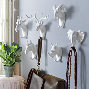 Animal Head Wall Decor,Set of 6 Deer Head Horse Head Sheep Head Rhino Head Elephant Head and Giraffe Head Creative Home Decoration Hanger Resin Material for Coat Hats Keys Bags Purse Towels(White)