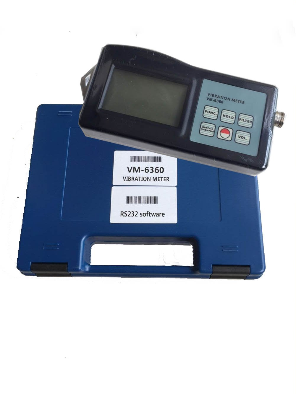 VM6360 Digital Vibration Meter Tester Vibrometer Gauge with RS232 Cable + Software VM-6360 , Blue