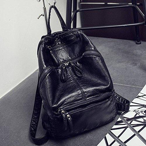 Modische Schulter Mädchen Wilde Weiche Leder Student Tasche Einfache Freizeit Reisetasche , schwarz
