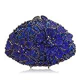 Flada Women's Luxurious Rhinestones Flabellate Evening Clutch Hollow Flower Wedding Handbag Blue