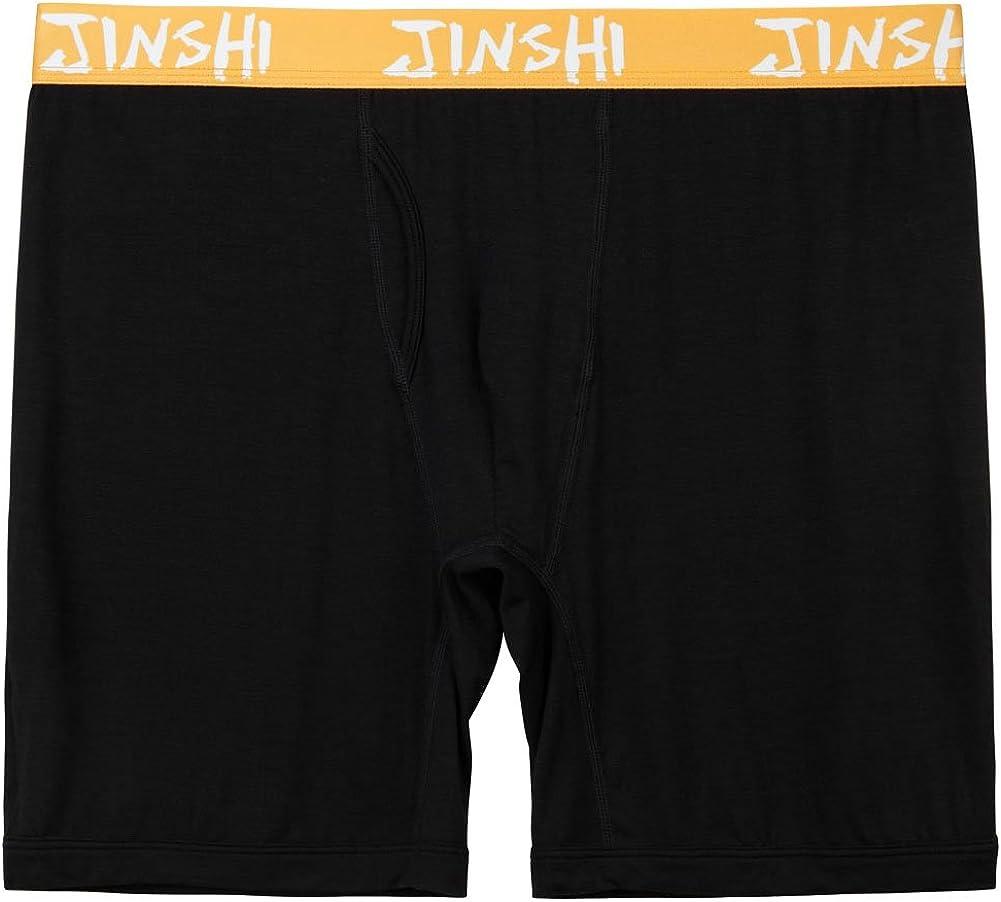 JINSHI Bamboo Underwear Long Boxer Briefs for Mens