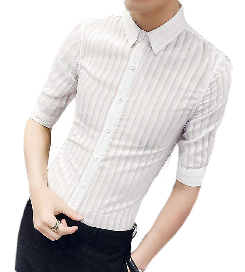 Rrive Mens See Through Button Front Casual Short Sleeve Slim Fit Shirts