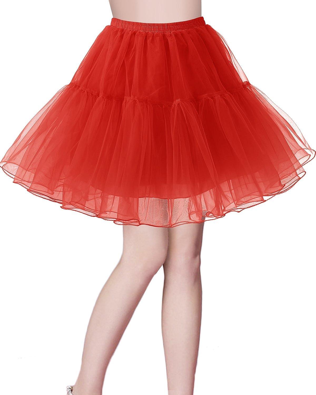 Bridesmay Jupon Tutu Petticoat Femme Vintage années 50 Rockabilly Couleurs variées