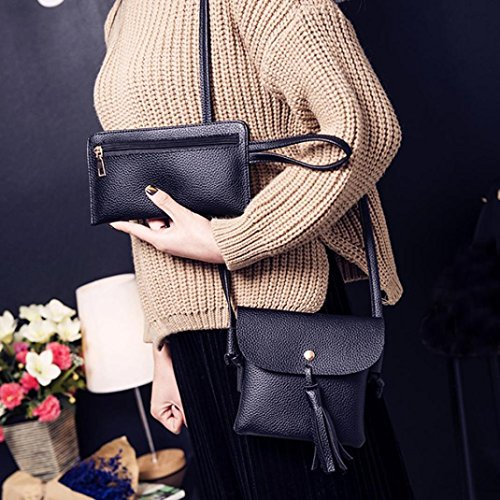 Bag Black Bag Crossbody Crossbody Women Shoulder Handbag Wallt TUDUZ Fashion Tote Bag Four Four Pieces Set ZYOSS70