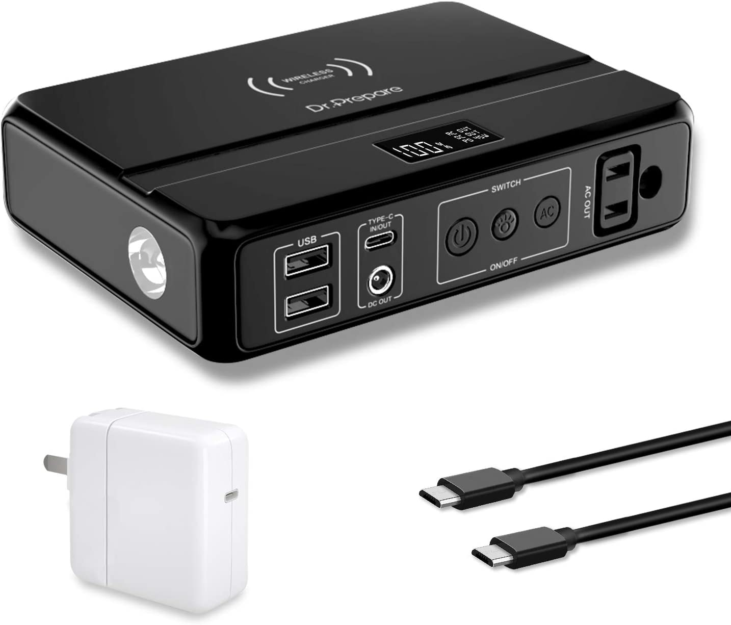 Portable Laptop Charger 85W AC Outlet, Dr. Prepare 83Wh/22500mAh Laptop Power Bank with 45W PD USB C, 10W Wireless Charging for Laptop MacBook iPad Pro Phones Tablets(45W USB C Charger Included)