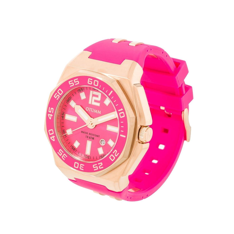 OTUMM Damen-Armbanduhr Sports Calendar 45 mm - rosÉgold-pink Analog Quarz Kautschuk 02185
