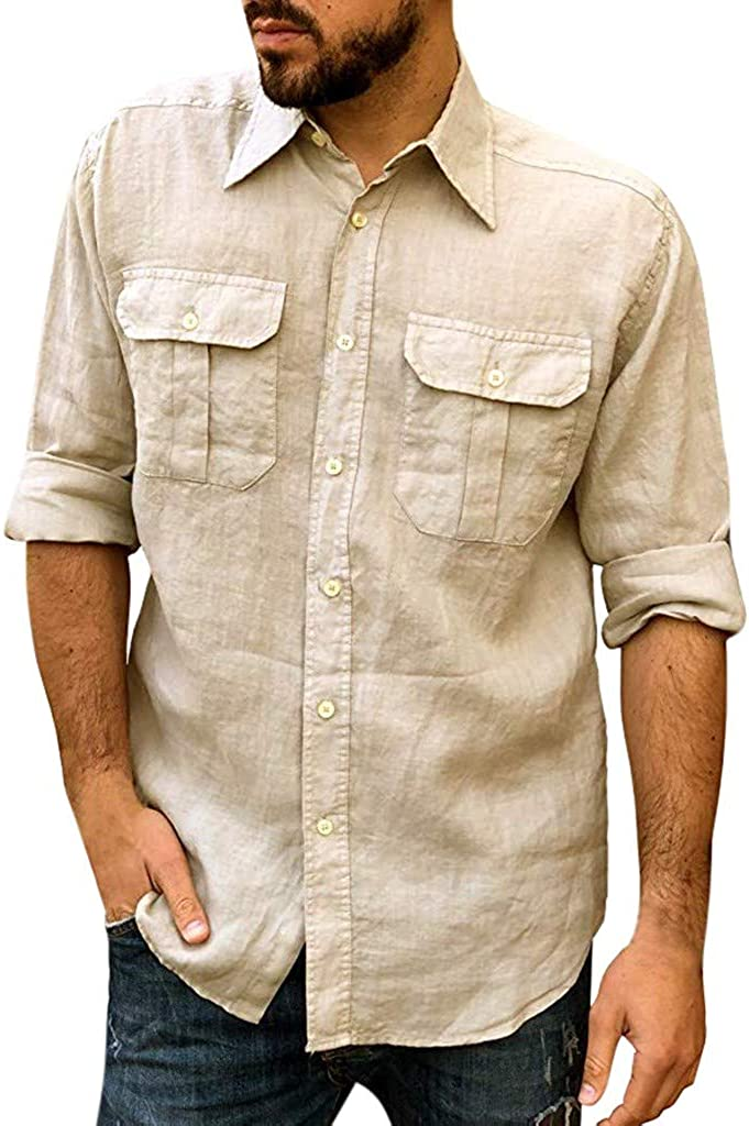Mens Casual Shirts Fashion Ethnic Style Slim Fit Chest Pocket Button Turn Down Long Sleeve Tops