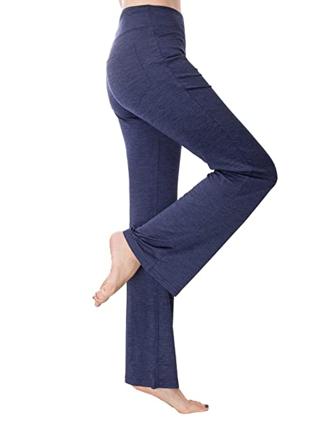 9825afb642216 Zexxxy Women's Power Tummy Control Workout Yoga Boot Cut Flares Pants with  Inner Pocket Navy Blue