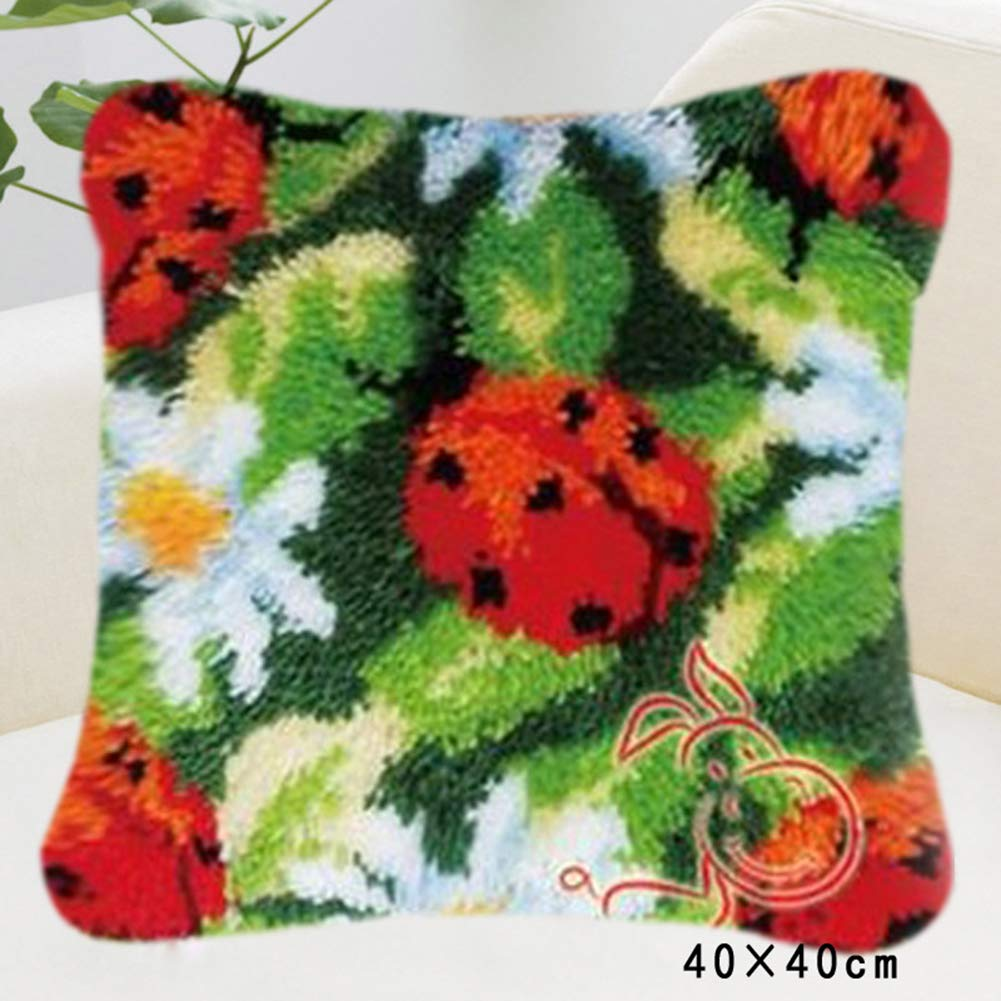 DIY Cushion Carpet Mat Latch Hook Rug Kits Cover Hand Craft Embroidery Pillowcase Crocheting Flower Handmade Wedding Kids Parents Gift 16x16 Inch