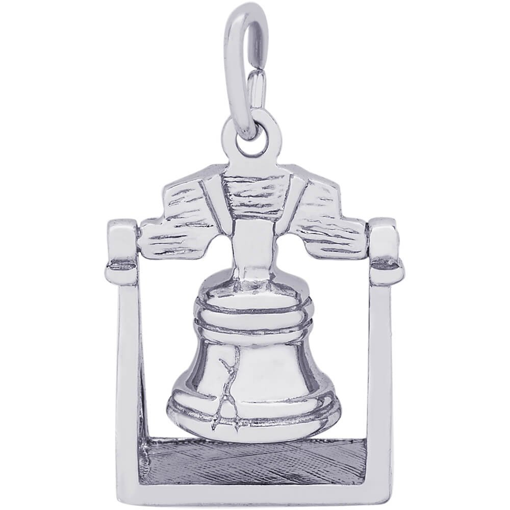 Rembrandt Charms 14K White Gold 3D Liberty Bell Charm (0.57 x 0.56 inches)