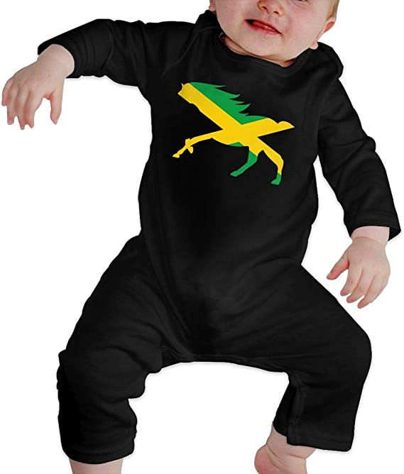 WlQshop Tute da Bambino,Body Bimbo Bimba Horse with Jamaica Flag Baby Boy Long Sleeve Infant Bodysuit