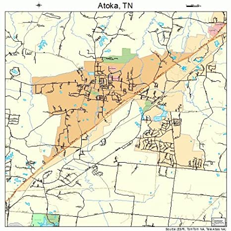 Amazon.com: Large Street & Road Map of Atoka, Tennessee TN ...