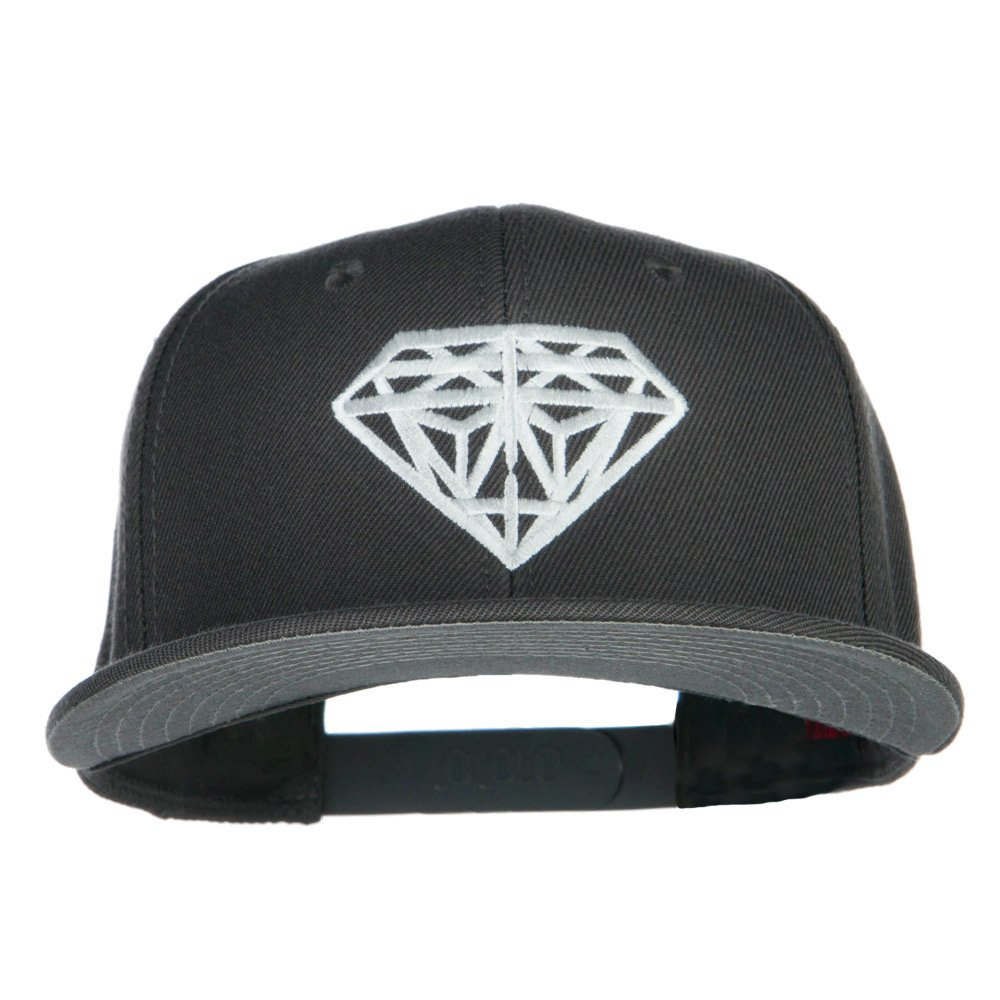 E4hats Big Diamond Embroidered Flat Bill Cap - Grey OSFM at Amazon Men s  Clothing store  a7e4770c0581