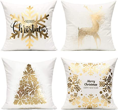 Amazon Com All Smiles Christmas Decorations Gold White Throw Pillow Covers Cases 18x18 Set Of 4 Snowflakes Xmas Décor Soft Velvet Decorative Cushion For Bed Sofa Couch Christmas Tree Deer Home Kitchen