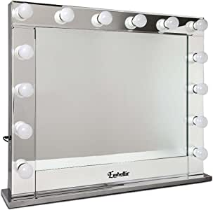 Embellir Hollywood Style Mirror Stand Up Vanity Makeup Mirror with 14 Lighted Bulbs and USB Charging for Living Room Dressing Desk Tabletop Countertop Cosmetic Mirror