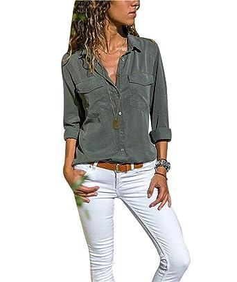 b929dc2cc82 Chemise Femme Chemisier Mousseline de Soie Button Up T-Shirt Solide Tunique  Femme Chic Manches