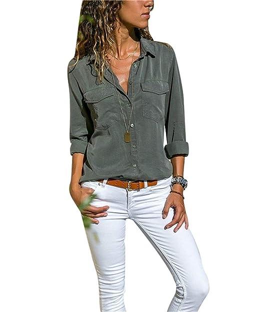 82a57db56c Camisas Vaquera Mujer Blusa con Botones Camisetas Manga Larga Sexy Tops  Color Sólido Cuello en V Low Cut Sexy Camisetas y Tops Camisas De Vestir   Amazon.es  ...