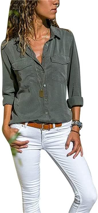 Camisas Vaquera Mujer Blusa con Botones Camisetas Manga Larga Sexy Tops Color Sólido Cuello en V Low Cut Sexy Camisetas y Tops Camisas De Vestir: Amazon.es: Ropa y accesorios