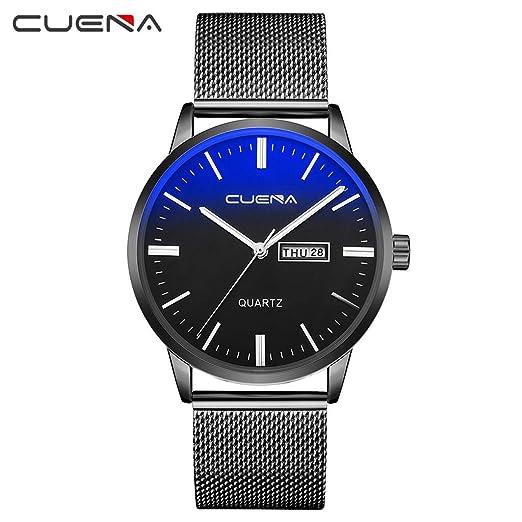 Luxury Fashion Faux Leather Mens Quartz Analog Watch Watches Black (One