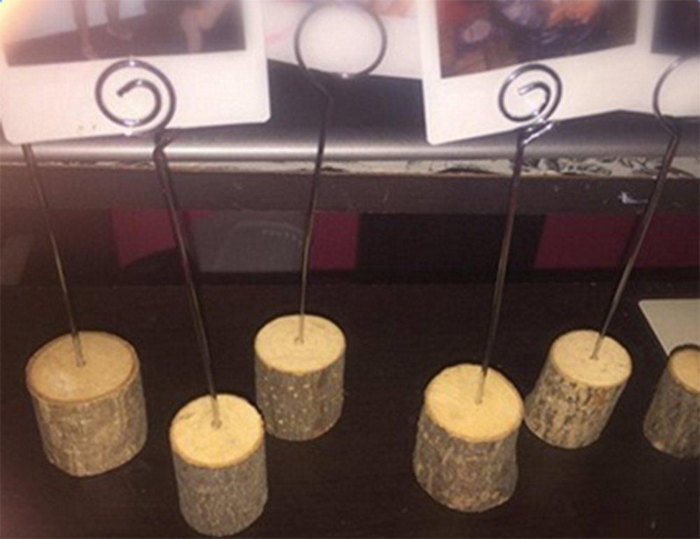 segnaposti per matrimonio Lumanuby 10PCS wedding menu sedili accessori per foto in legno clip in legno con filo biglietti in carta Note