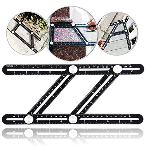 Universal Angularizer Ruler, Tengyes Angle Template Tool - Full Metal Multi Angle Measuring Ruler Angleizer Template Tool - Upgraded Aluminum Alloy Multi Functional Ruler by TENGYES