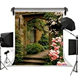 Kate Photo Backdrop Cotton Collapsible Background Pink Rose Brick Arch Door Background for Photographer Backdrop for Wedding Pictures 10x10ft(3x3m)