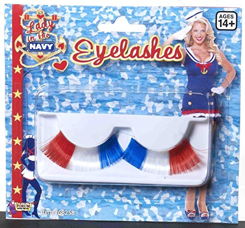 Forum Novelties Lady in The Navy Lashes-r/w/b, Red,