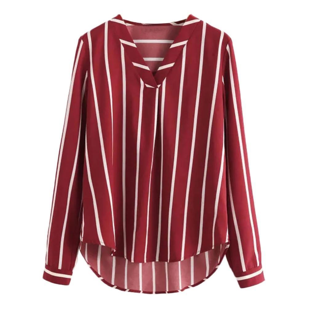 iQKA Women Long Sleeve Stripe Chiffon Blouse V-Neck Loose Casual Shirt High Low Top(Wine,Small)