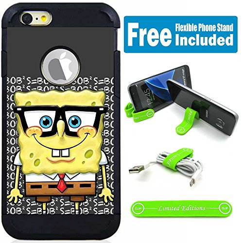 Apple iPod Touch 5/6 5th/6th Generation Hybrid Armor Defender Case Cover with Flexible Phone Stand - Spongebob Nerd (Touch 5 Case Spongebob Ipod)