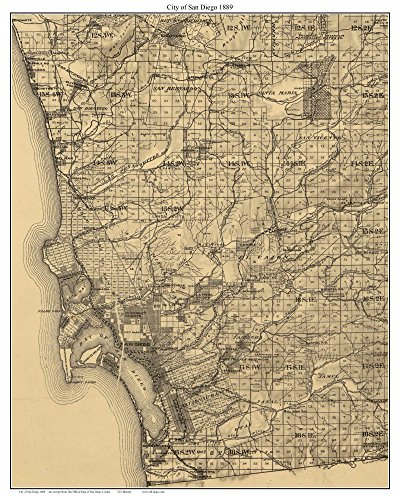 - City of San Diego California 1889 - Old Wall Map Custom Reprint with Farm Lines