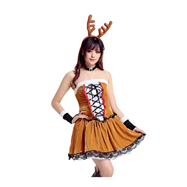 3b3d7072e33 Amazon.com: Koola's Christmas Deer Dress Role Play Costumes Cosplay ...