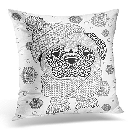SPXUBZ Pug Dog with Knitted Hat and Scarf Tattoo Adult Antistress Coloring Page Black and White Doodle Decorative Home Decor Square Indoor/Outdoor Pillowcase Size: 18x18 Inch(Two Sides) ()