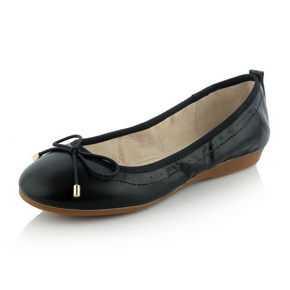 AllhqFashion Women's No-Heel Soft Material Solid Pull-on Round Closed Toe Ballet-Flats, Black, 34 by AllhqFashion