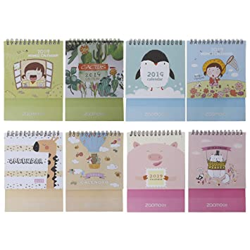 Japanese Style 2019 Desktop Standing Coil Paper Calendar Memo Daily Schedule Table Planner Yearly Agenda Organizer Office & School Supplies