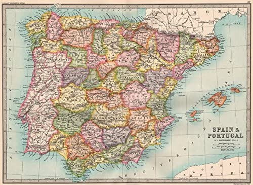 Iberia. Provincias España y Portugal.. Bartholomew – 1890 – Old Antiguo Mapa Vintage – Juego de funda nórdica Mapas de Iberia: Amazon.es: Hogar