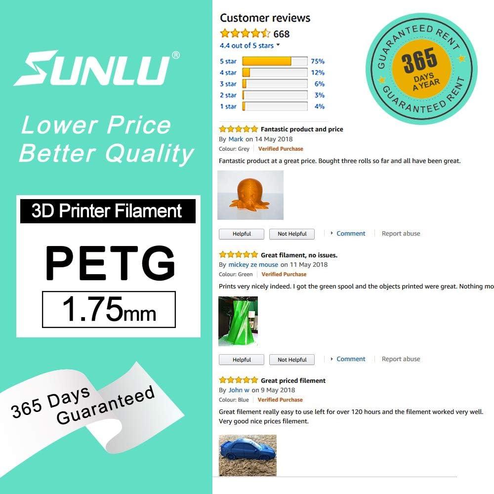 PETG Grey+Orange+White SUNLU PETG Filament 1.75mm Dimensional Accuracy +//- 0.02 mm PETG 3D Printer Filament 1 kg Spool