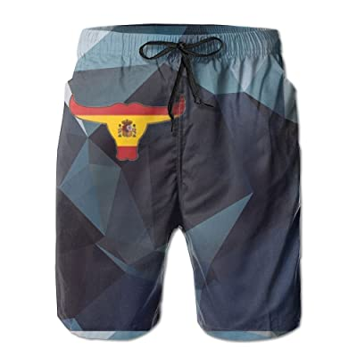 Nasat Flag of Spain with Osborne's Bull Mens Shorts Loose Summer Swimming Trunks Running Swimming and Surfing