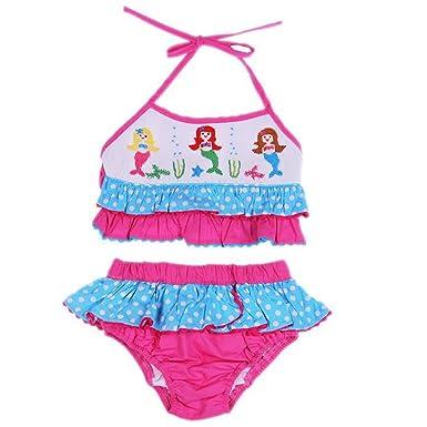 5f6e7b354e4e4 Amazon.com  Girls Smocked Mermaids Hot Pink Two Piece Swimsuit 6m-6T ...