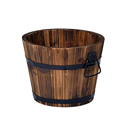Fu Rustic Wood Whiskey Barrel Planter Box Round Small Wooden Garden Flower Pot