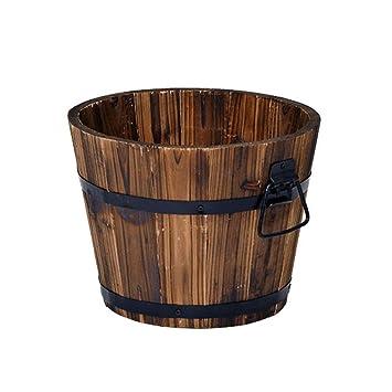 Macetero de madera rústica de barril de whisky, redonda. Jardinera para flores.: Amazon.es: Jardín