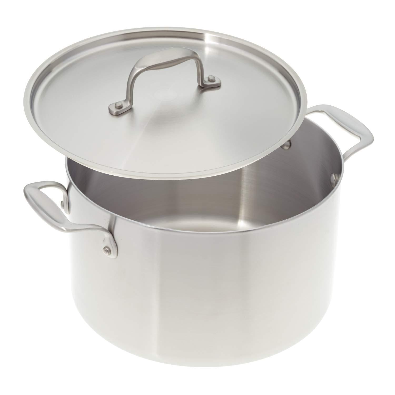 Americanキッチン調理器具8-quartプレミアムステンレススチールStock Pot with Fittedカバー; tri-plyステンレススチール;で製造USA   B07CDPMWVW