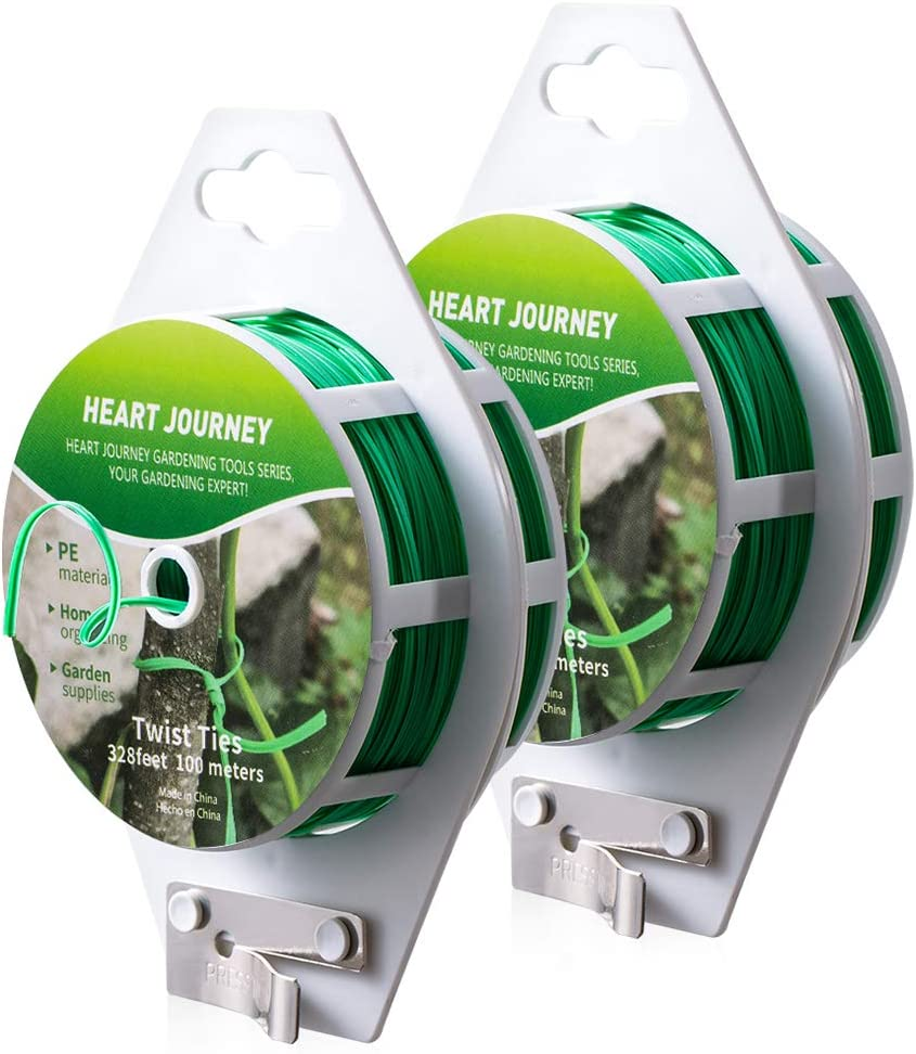 Heart Journey 328feet (100M) Twist Ties 2pcs Plastic Coated with Cutter for Garden Plants, Twist Tie for Home & Office. Green Plant Ties, Garden Ties Made with Premium Materials, Easy Cut and Reusable