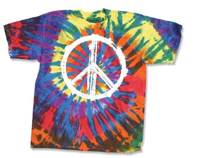 8d0f253c1a3 Amazon.com  dyenomfte Tie Dye Shirt - Peace Sign - 60 s 70 s Hippy ...