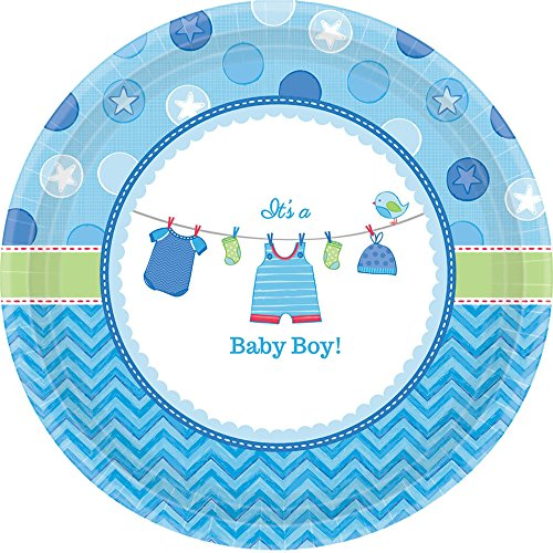 New Baby Boy Plate (Adorable Shower with Love Boy Round Baby Shower Party Paper Plates Disposable Tableware and Dishware, 7