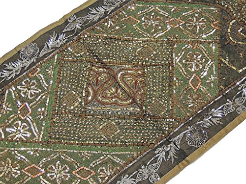 NovaHaat Indian Sequin Wall Hanging - Khaki and Green Embroidered Handmade Sari Tapestry Runner ~ 60 Inch X 20 Inch