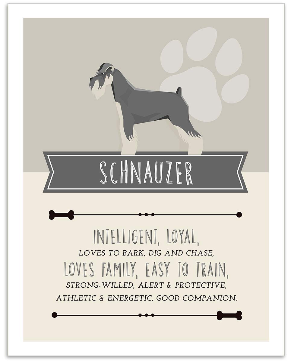 Schnauzer Dog Wall Art - 11x14 Unframed Decor Print - Makes a Great Gift Under $15 for Dog & Pet Animal Lovers